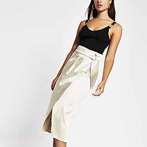 Cream buckle waist satin wrap midi skirt