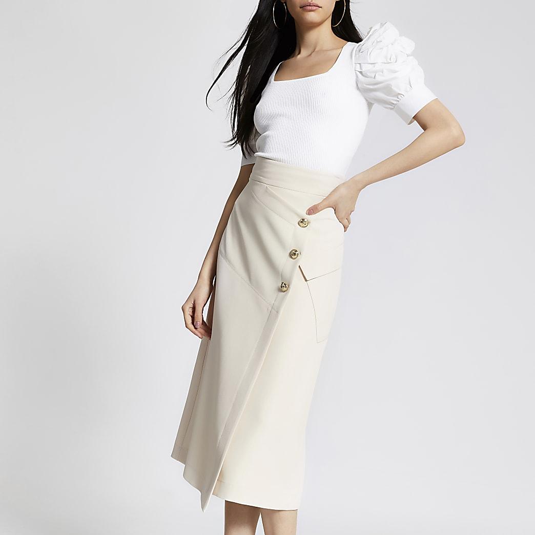 Cream button front midi pencil skirt