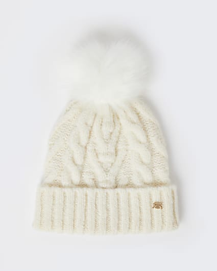 Cream cable knit beanie hat