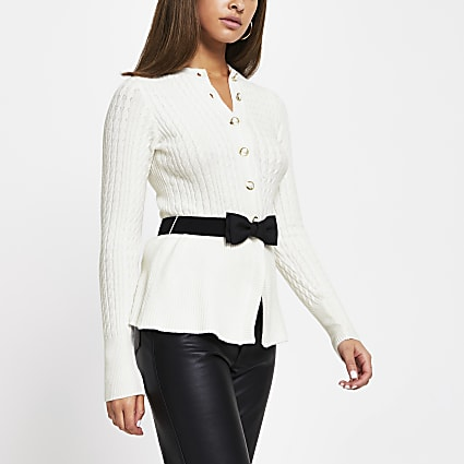 Cream cable knit belted cardigan