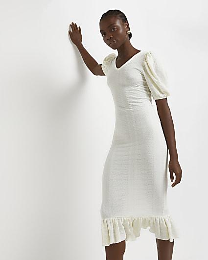 Cream cable knit bodycon dress