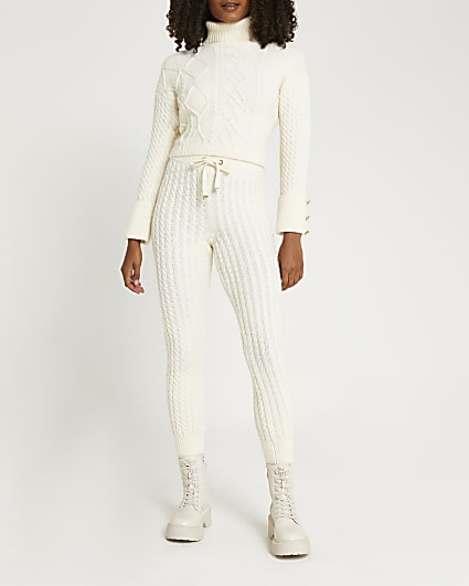 Cream cable knit joggers