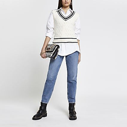 Cream cable knit sleeveless cardigan