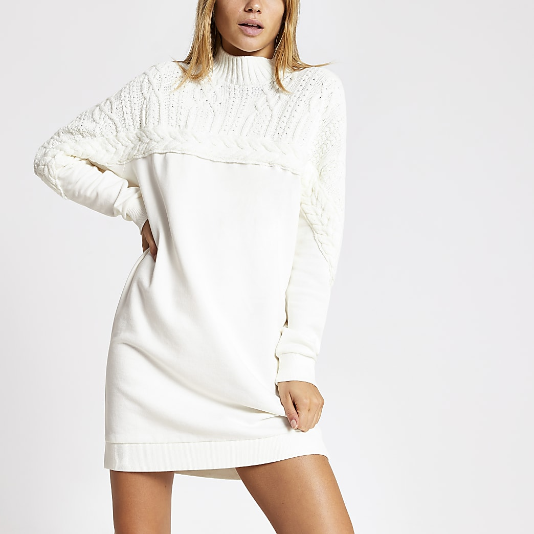 Cream cable knitted sweatshirt dress