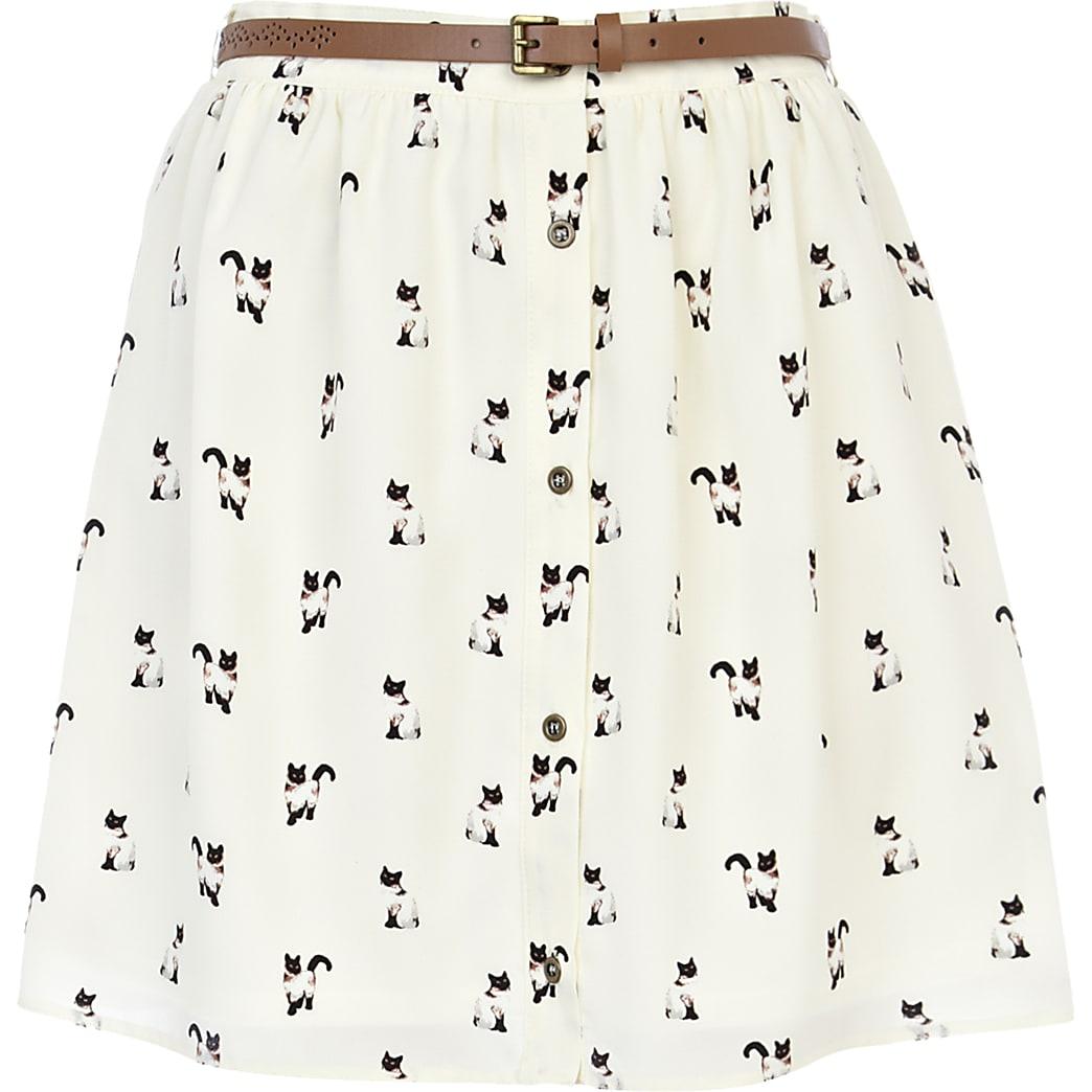 Cream cat print belted button through skirt