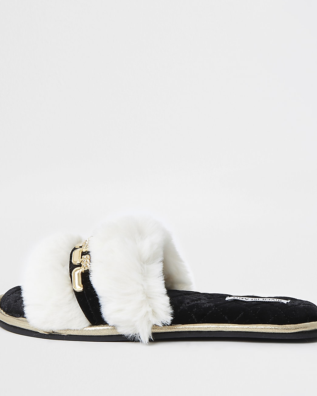 Cream chain detail open toe slippers