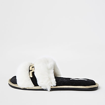 Cream chain detail open toe slippers