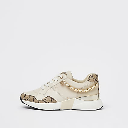 Cream chain runner trainers