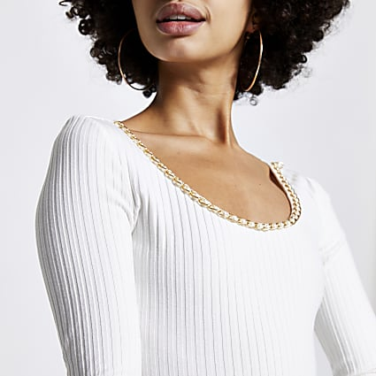 Cream chain trim long sleeve bodysuit