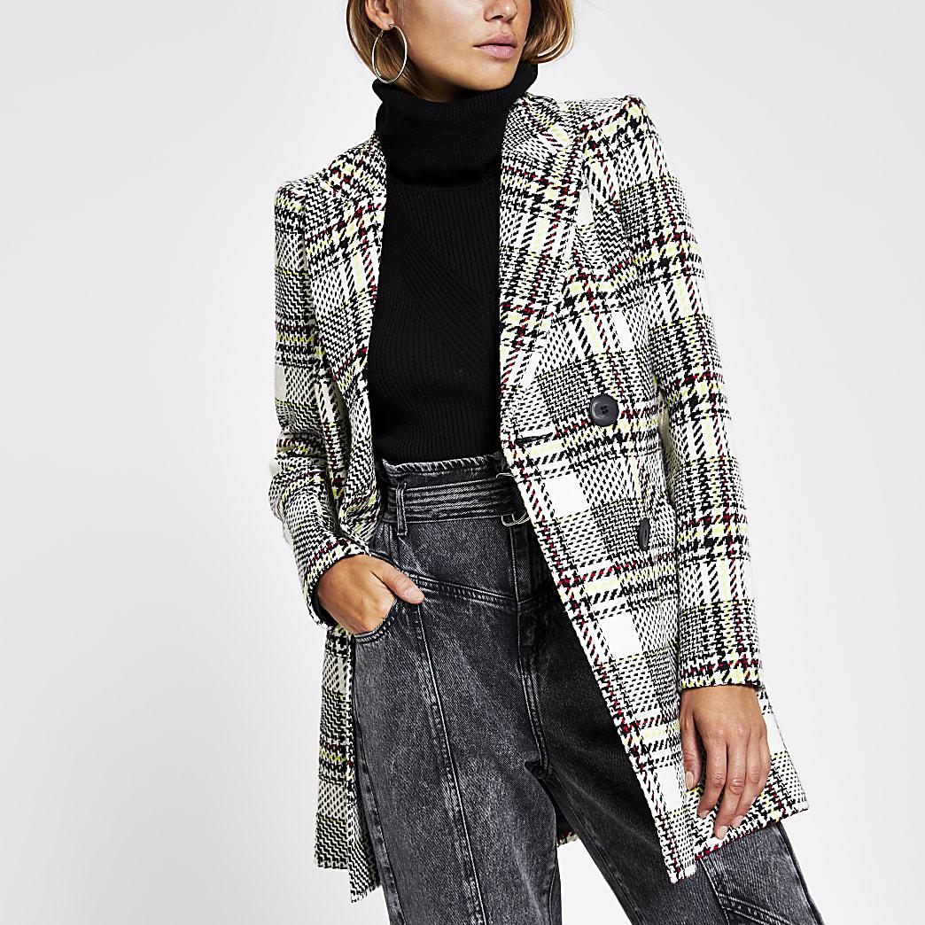 Cream check boucle jacket