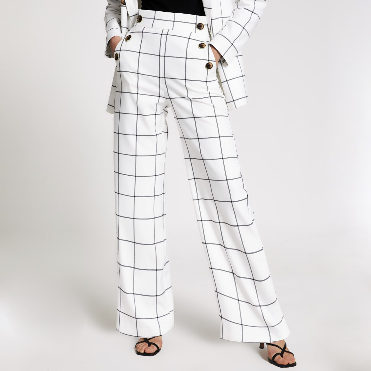 Cream check button front wide leg trousers