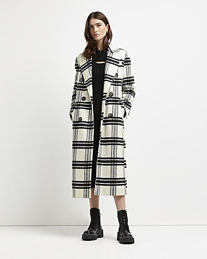 Cream check coat