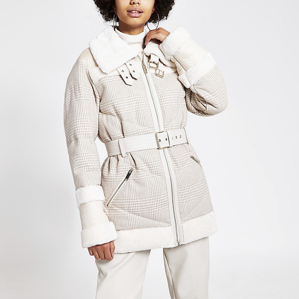 Cream check faux fur trim aviator jacket