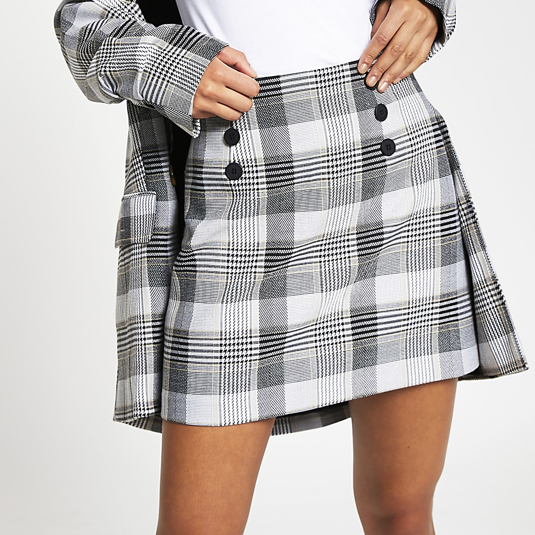 Cream check print front button mini skirt