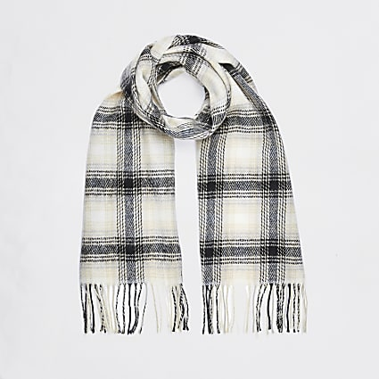 Cream check print scarf