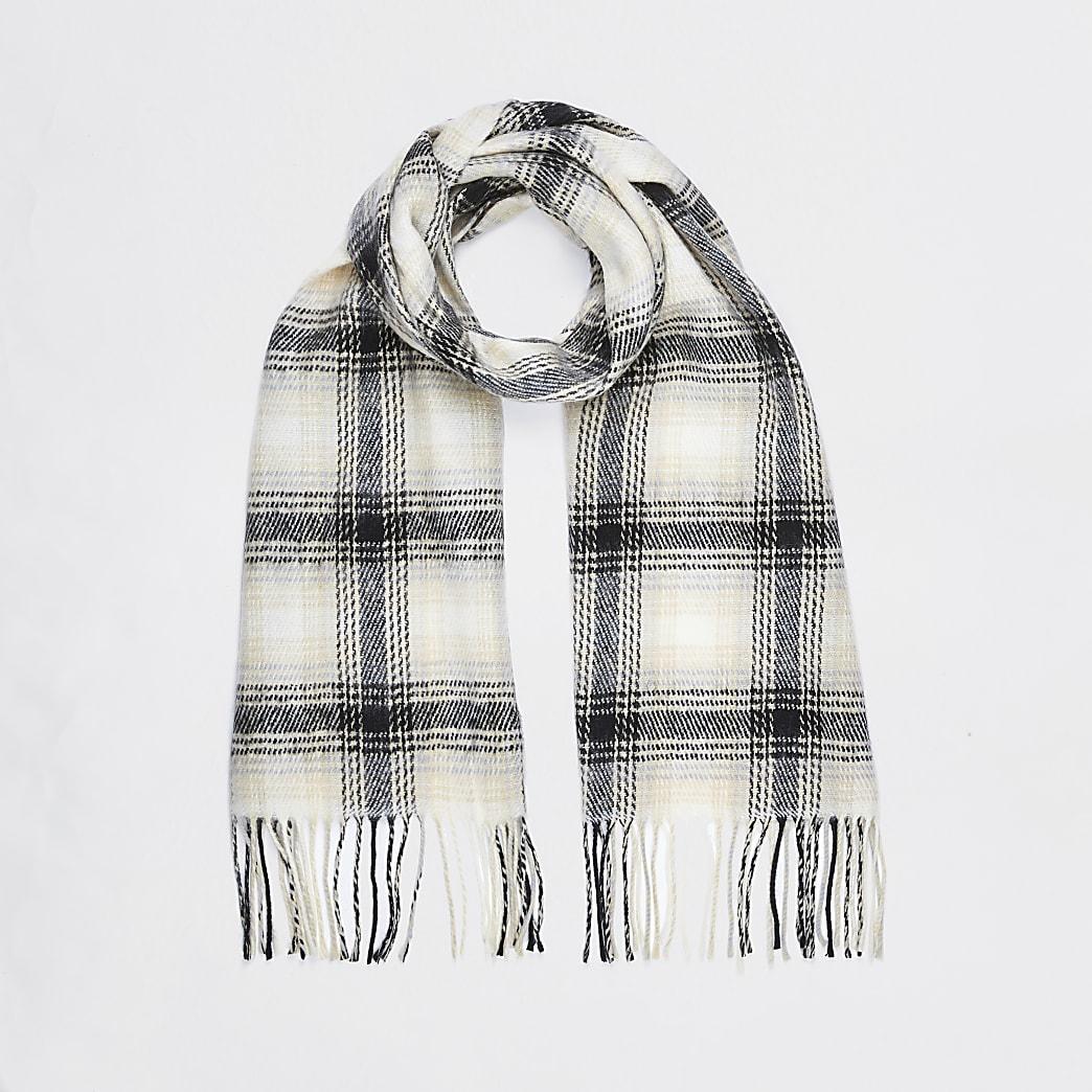 Cream check print scarf