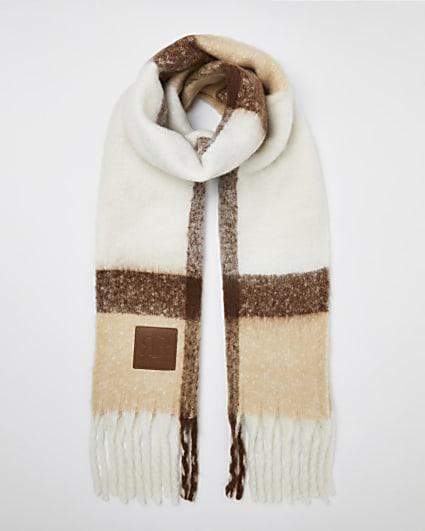 Cream check scarf