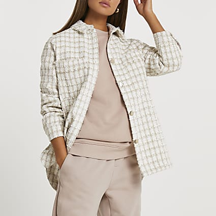 Cream checked shacket