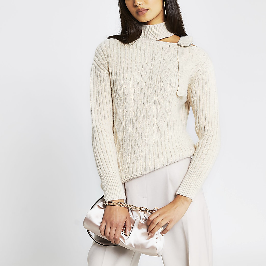 Cream choker neck cable knitted jumper