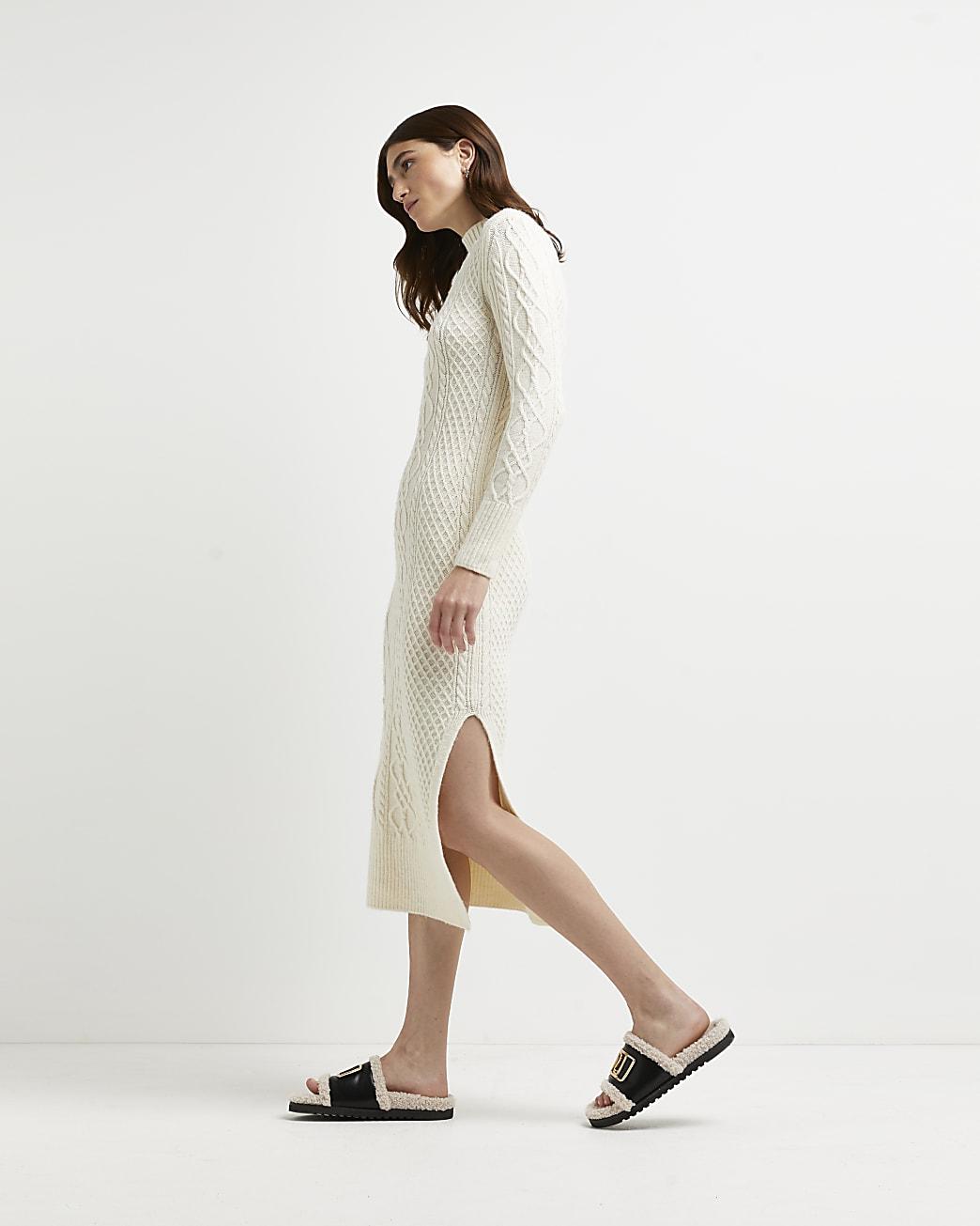 Cream chunky cable knit bodycon midi dress