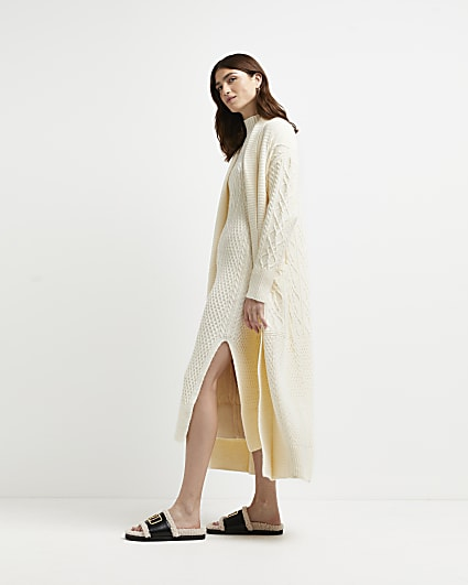 Cream chunky cable knit longline cardigan