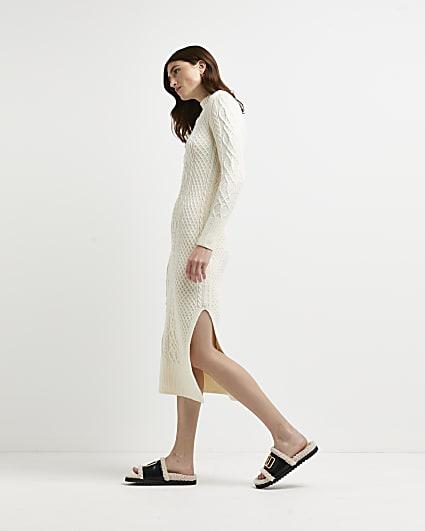 Cream chunky cable knit midi dress