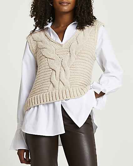 Cream chunky cable knit shirt