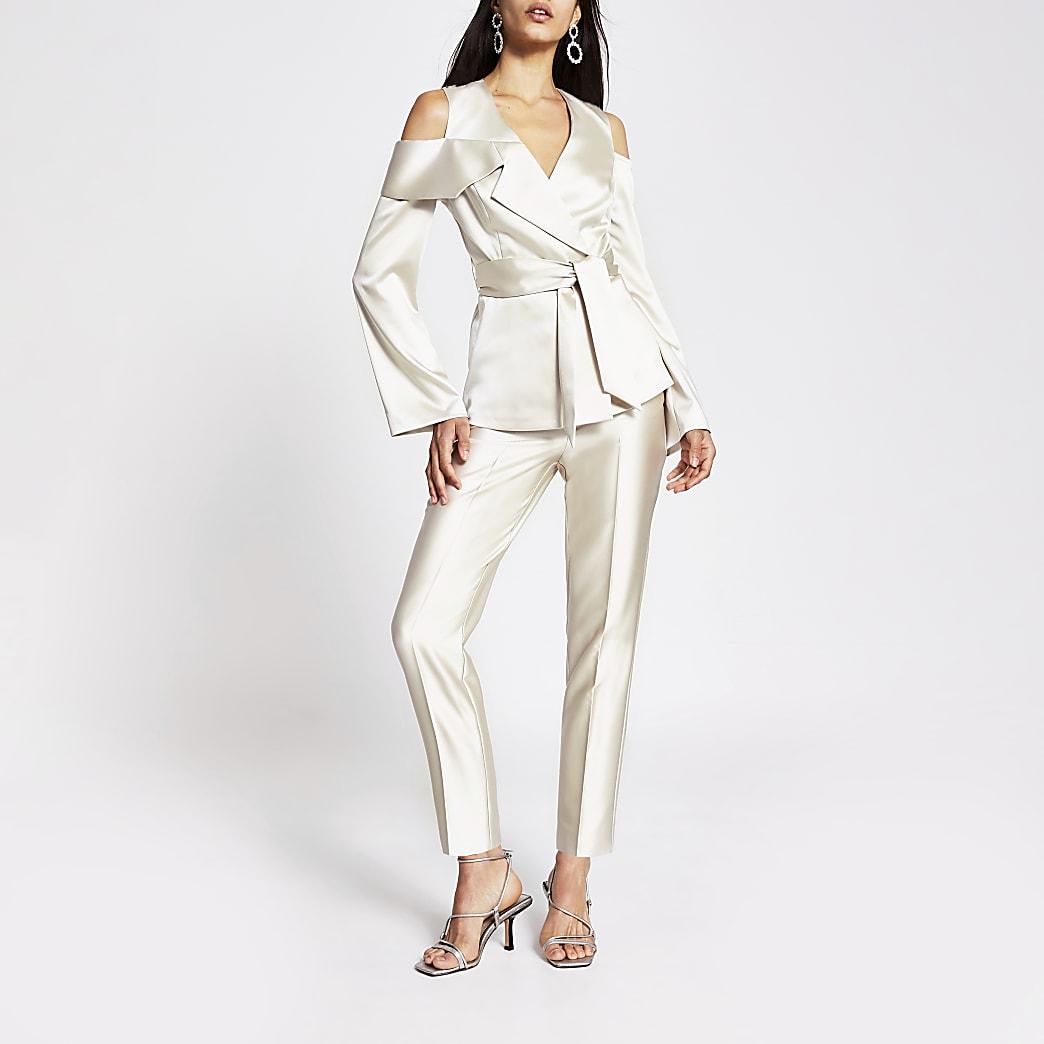 Cream cigarette trouser