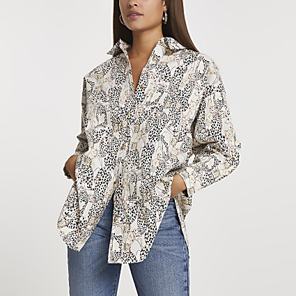 Cream cinched animal print oversized shirt