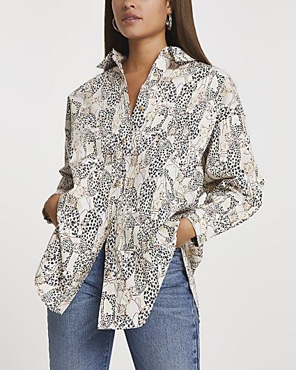 Cream cinched animal print oversized shirt