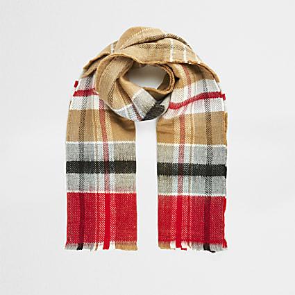 Cream classic check print scarf