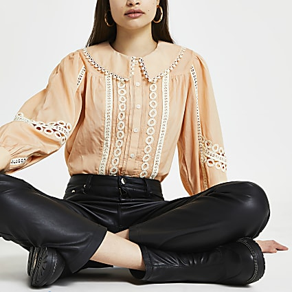 Cream collar lace trim blouse top