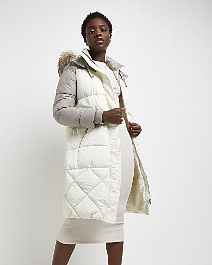 Cream colour block quilted puffer coat