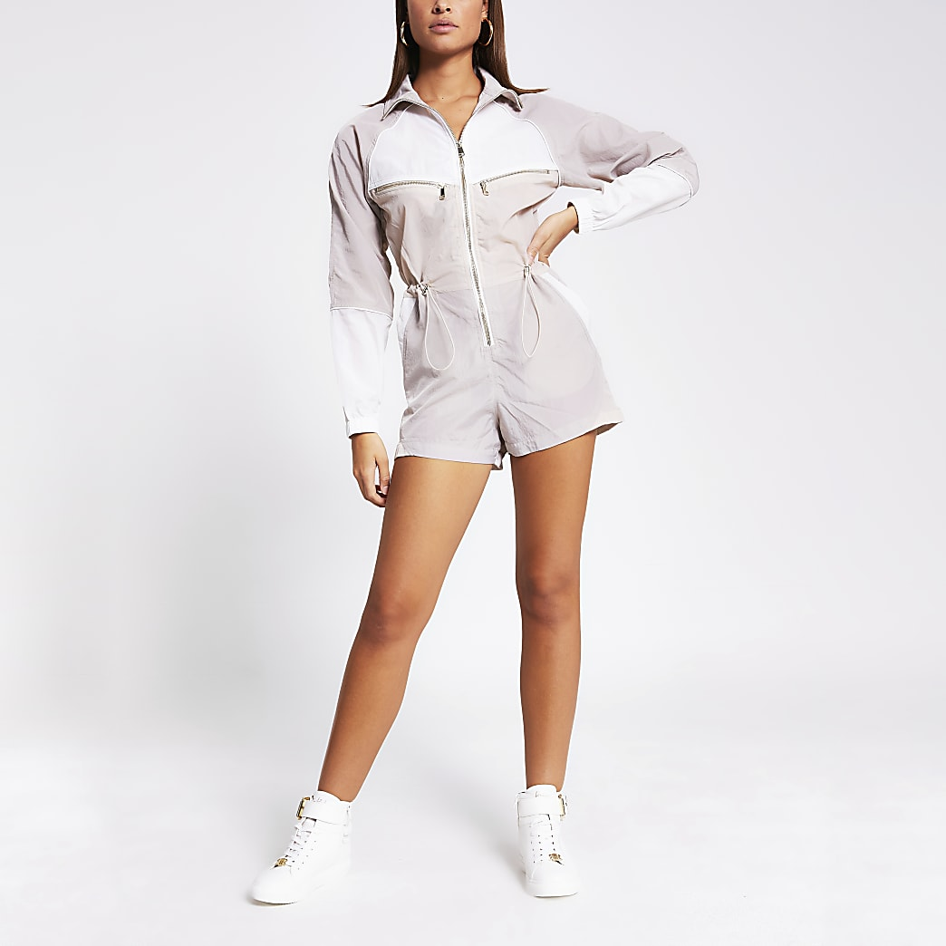 Cream colour blocked long sleeve playsuit