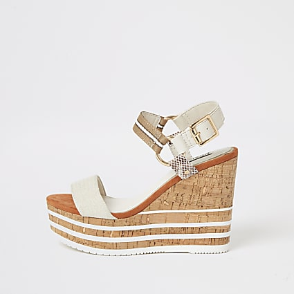 Cream cork detail wedge sandals