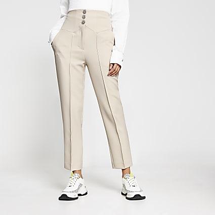Cream corset waist cigarette leg trousers