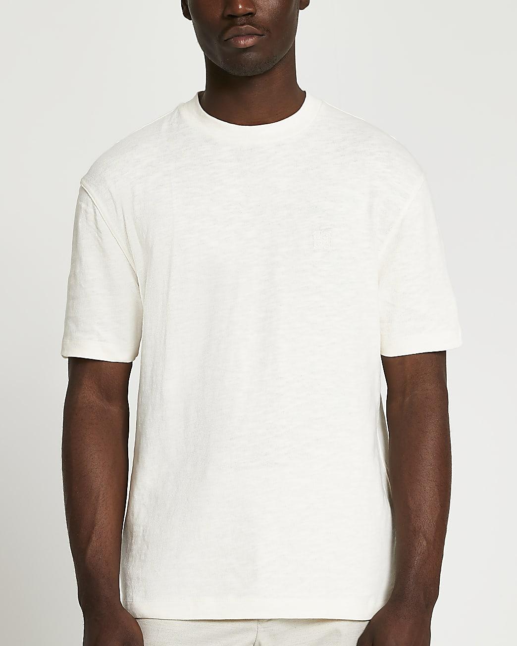 Cream cotton regular fit slub t-shirt
