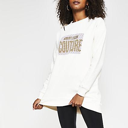 Cream 'Couture' safety pin sweatshirt