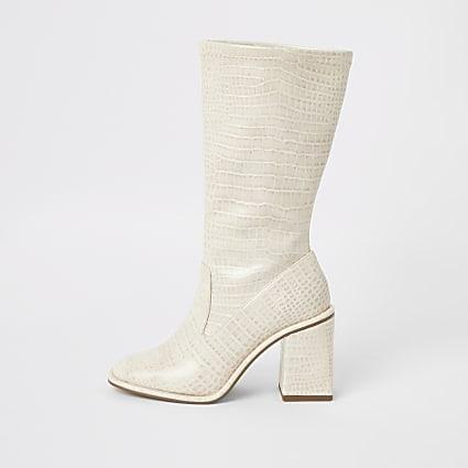 Cream croc embossed calf height boots