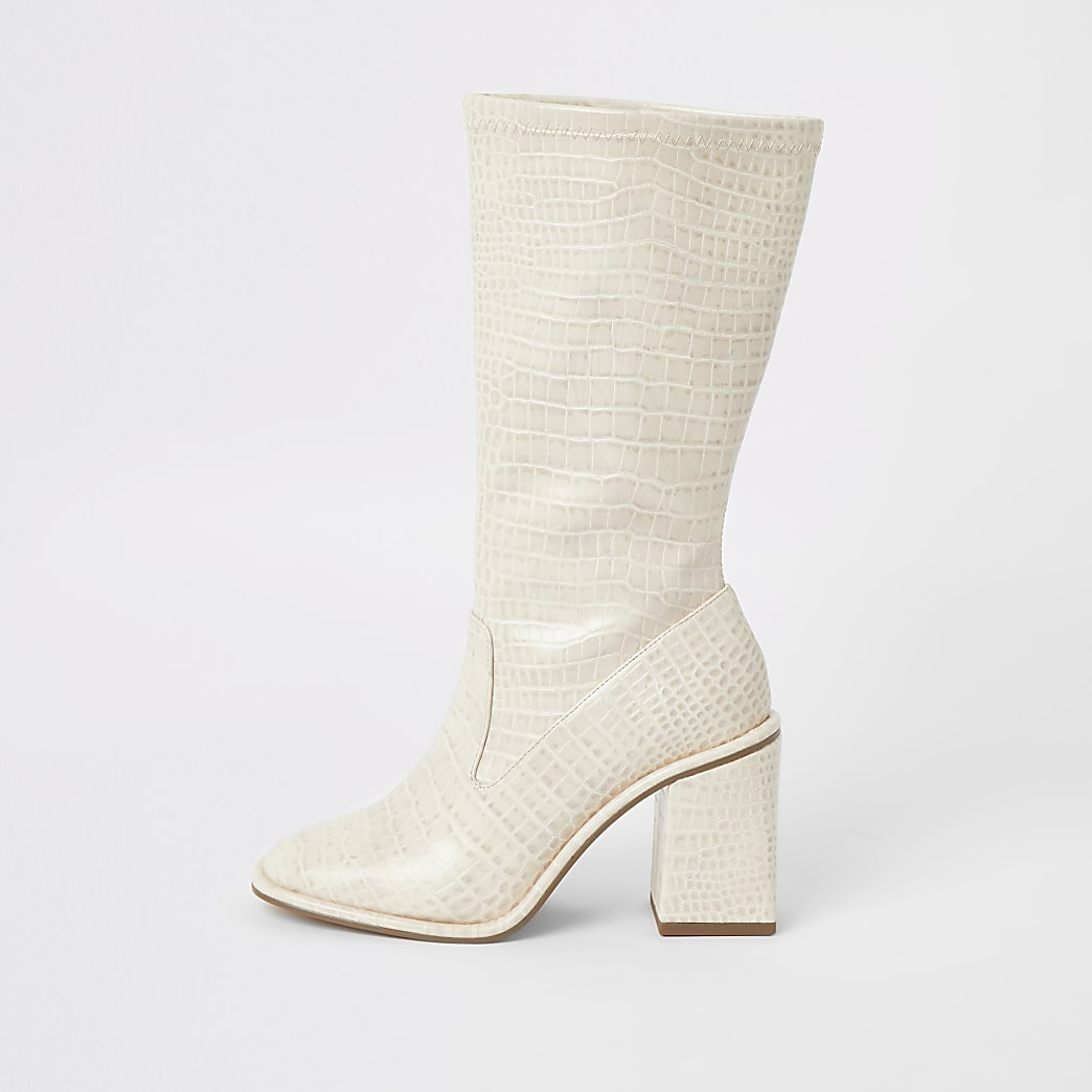 Cream croc embossed calf height boots