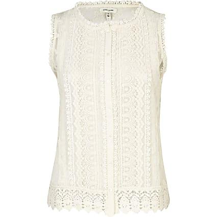 Cream crochet button through tank top