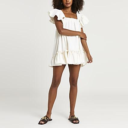 Cream denim frill smock dress