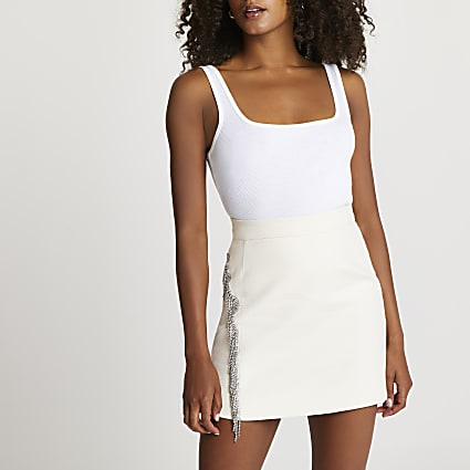 Cream diamante fringe mini skirt