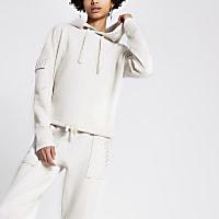 Cream diamante utility hoodie