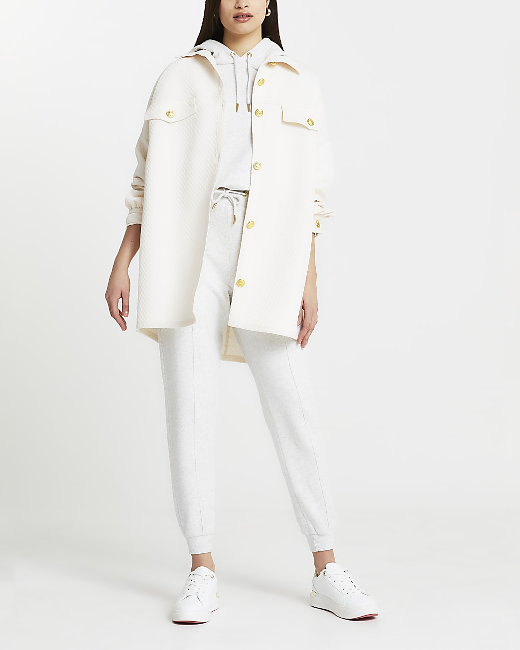 Cream diamond quilted detail shacket
