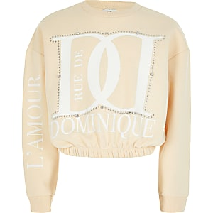 "Strass-Sweatshirt ""Dominique"" in Creme"