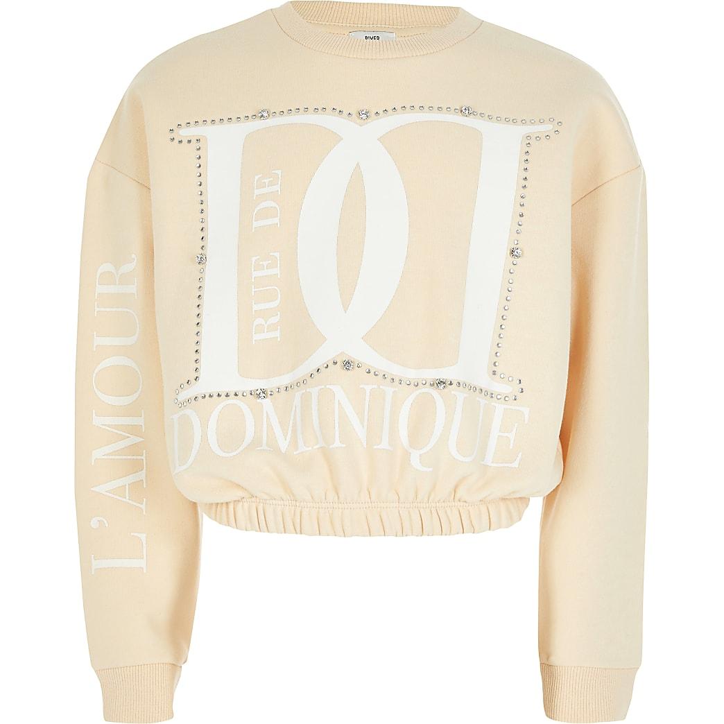 Cream 'Dominique' diamante sweatshirt