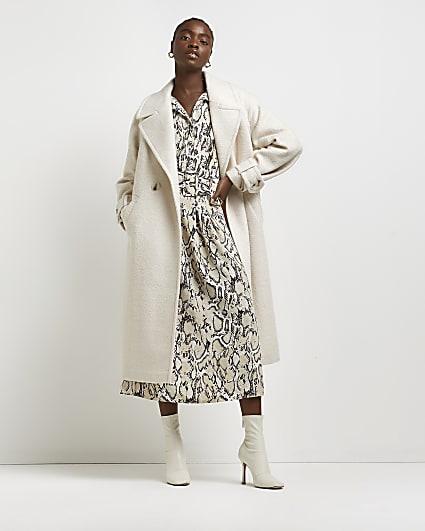 Cream double breasted coat