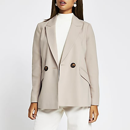 Cream double breasted cuffed blazer