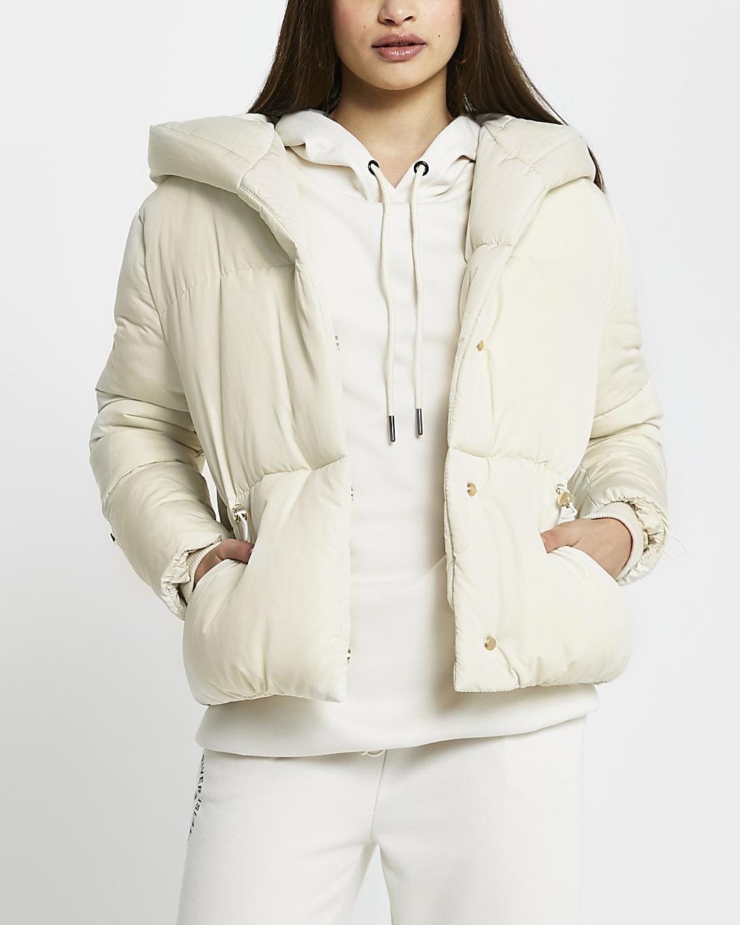 Cream drawcord shawl puffer coat
